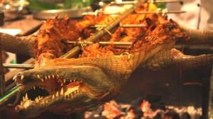 cá sấu nướng nguyên con